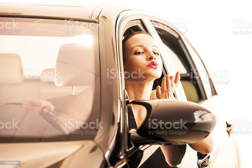 Young woman driving a car. royalty-free stock photo