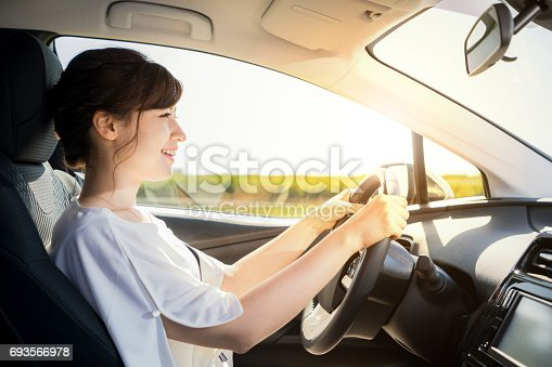 istock young woman driving a car. 693566978