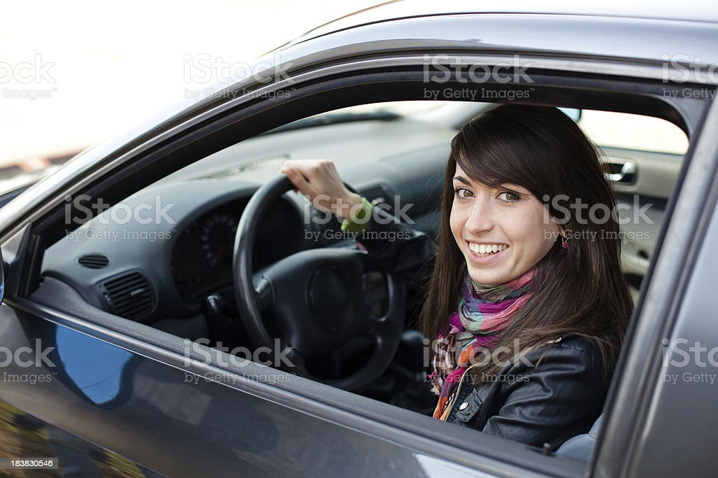 Young woman driving car royalty-free stock photo