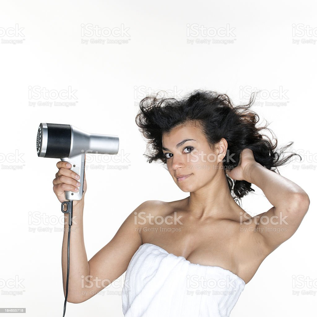 young woman drying hair royalty-free stock photo