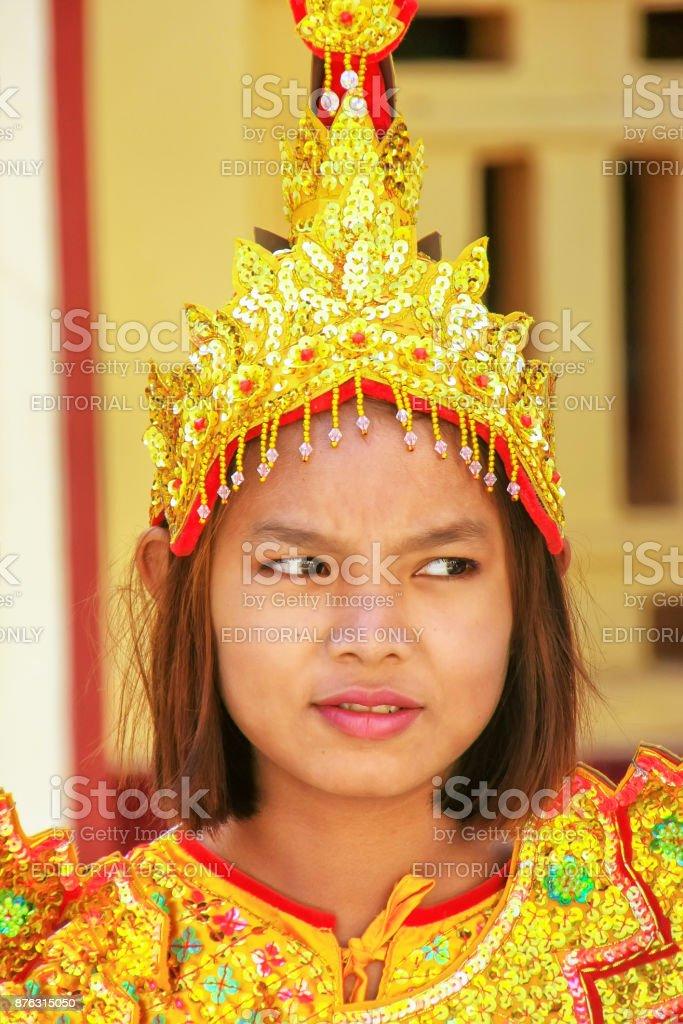 Young Woman During Wedding Ceremony In Mahamuni Pagoda Myanmar Royalty Free Stock Photo