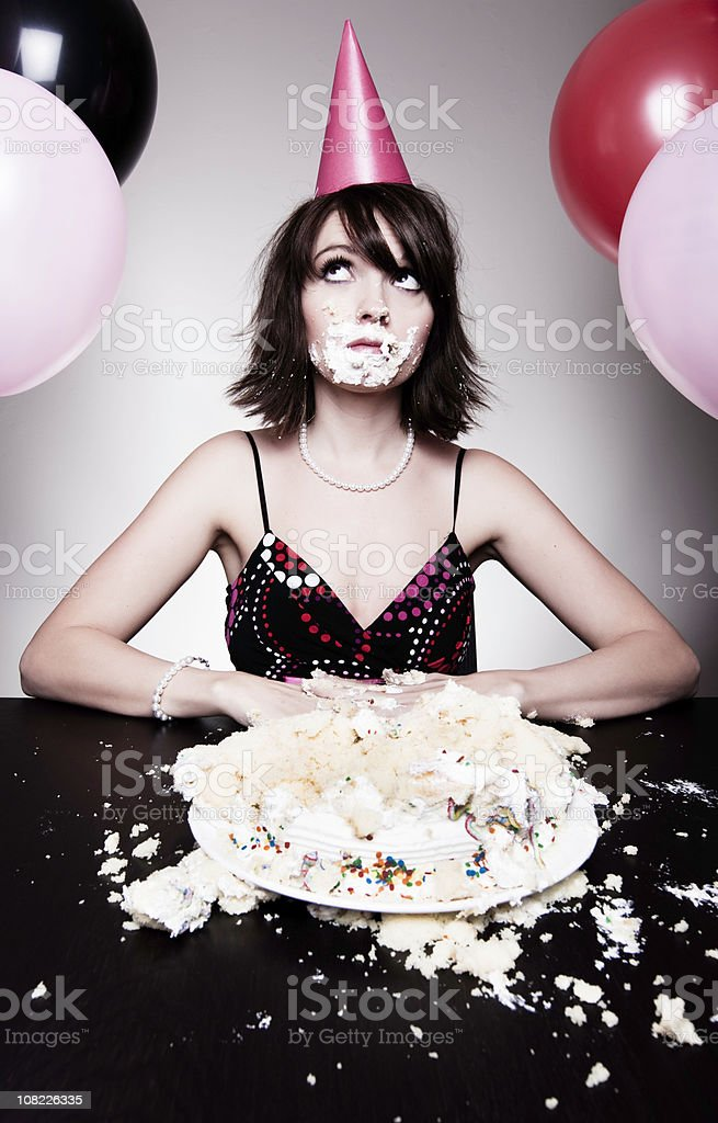 Excellent Young Woman Eating Birthday Cake Stock Photo Download Image Now Funny Birthday Cards Online Inifofree Goldxyz