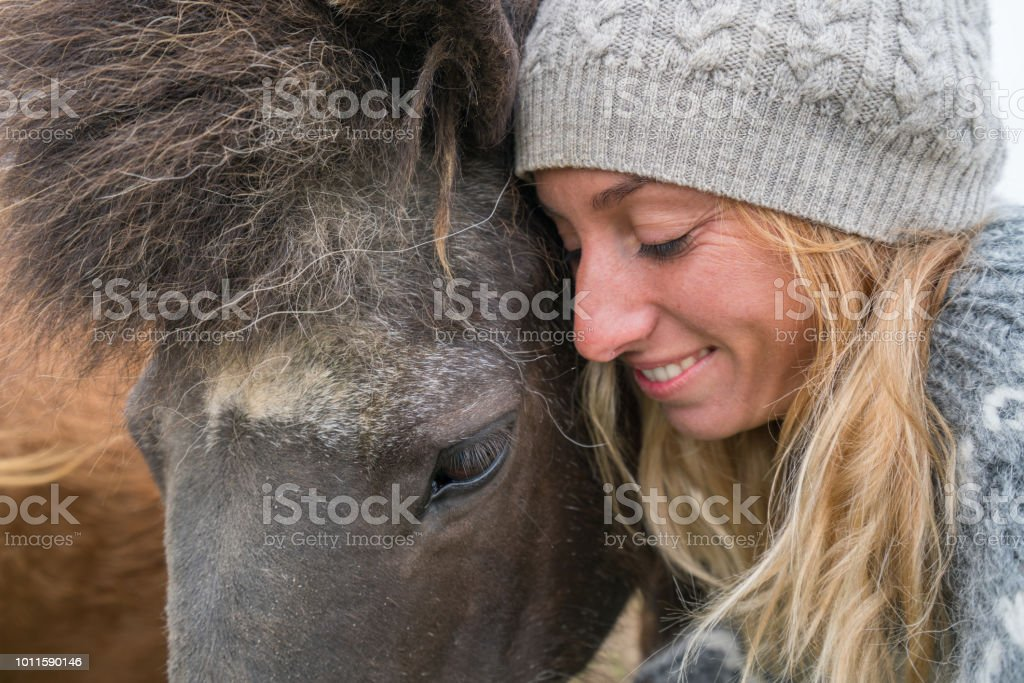 Blond hair girl in Iceland petting Icelandic horse in green meadow....