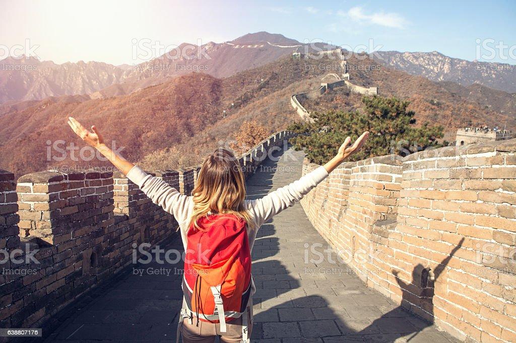 Young woman embracing nature-Great Wall of China – Foto