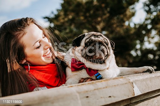 istock Young woman embracing pet dog in park 1132115500