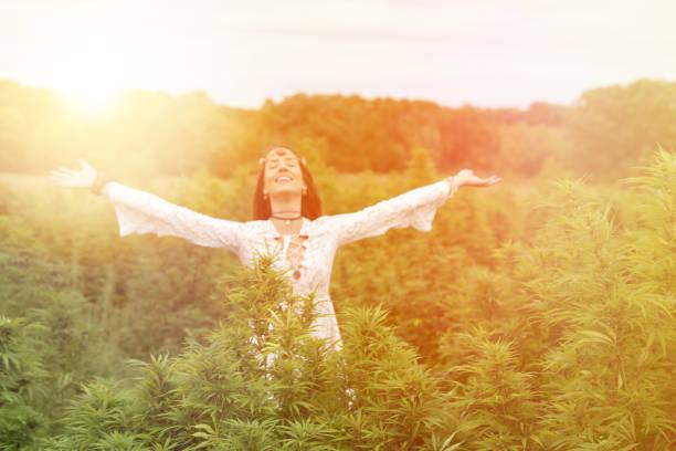Junge Frau genießt Cannabis-Feld – Foto