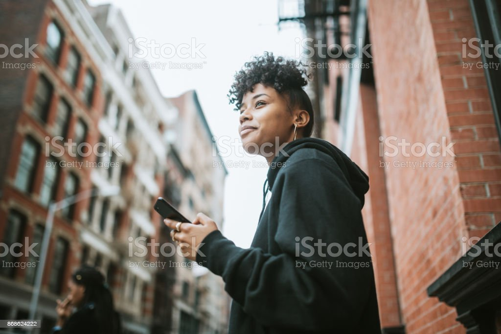 Young Woman Enjoying City Life in New York stock photo
