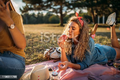 Female friends on a picnic in nature