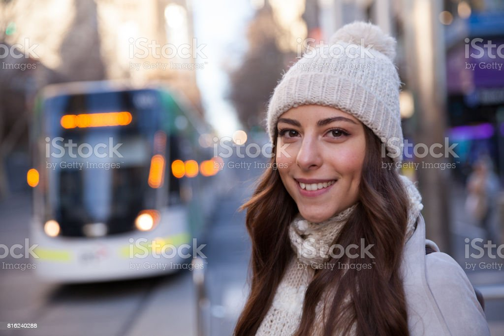 Young Woman Enjoying Melbourne Winter stock photo