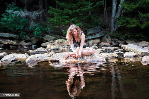 istock Young woman enjoying nature on peaceful, calm Red Creek river in Dolly Sods, West Virginia during sunny day with reflection dipping hands in water to drink fresh, splashing 878544084