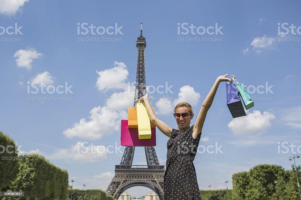 Young woman enjoying shopping in Paris royalty-free stock photo