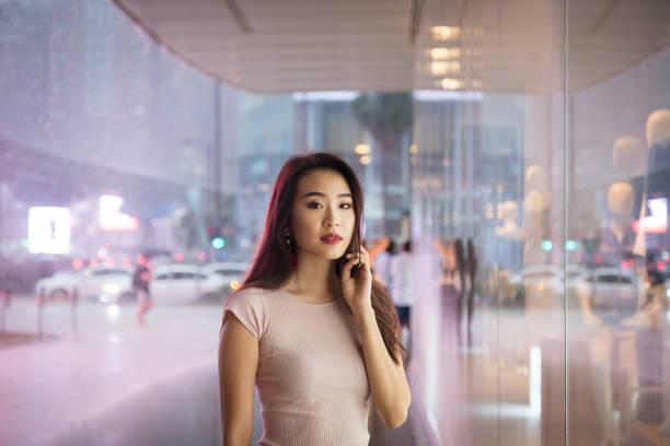 Young woman enjoying shopping stock photo