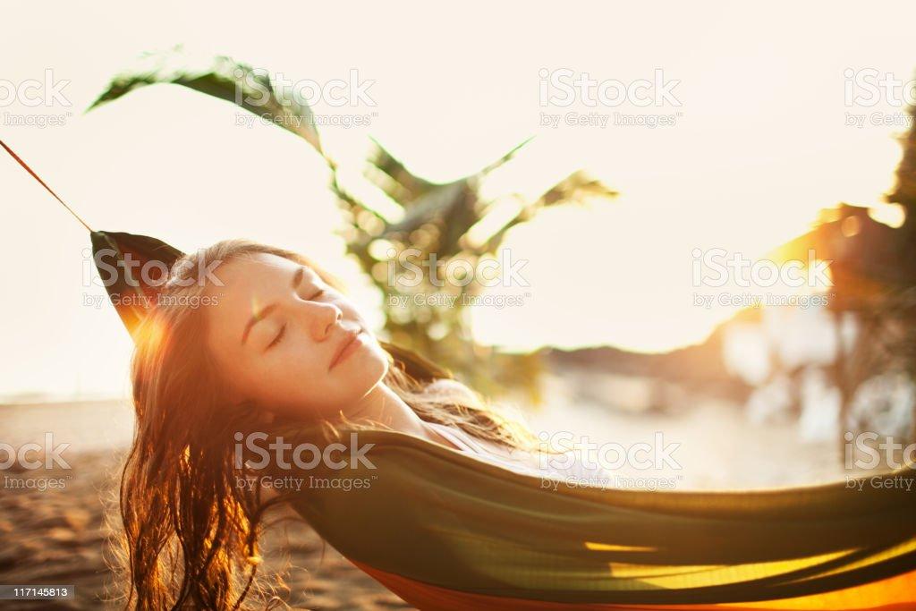 Young woman enjoying sun royalty-free stock photo