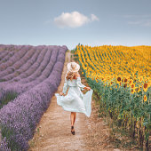 istock Young woman enjoying sunflower and lavender field in Provence, France 1256152503