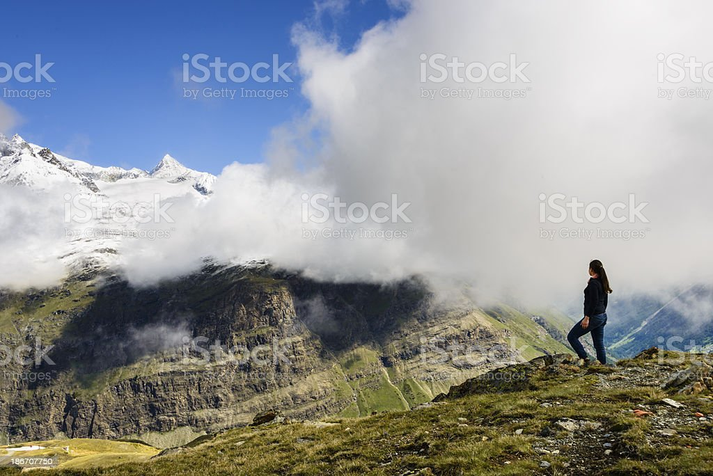 Young woman enjoying the mountains-XXXL royalty-free stock photo