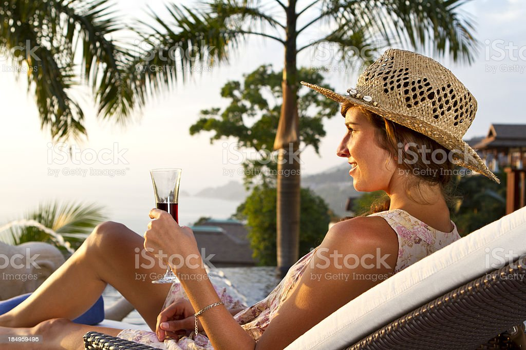 Young woman enjoying the sunshine royalty-free stock photo