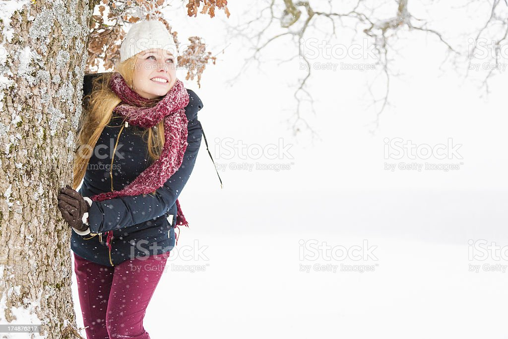 young woman enjoying winter royalty-free stock photo