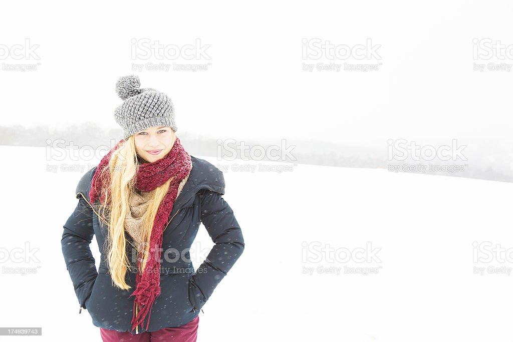 young woman enjoying winter royalty-free stock photo