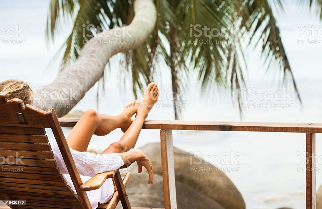 Young woman enjoys in morning stock photo