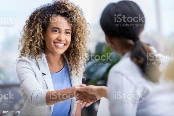 Young woman enjoys meeting new therapist picture id1026611070?b=1&k=6&m=1026611070&s=612x612&h=w5u4c4didmeocdjzcn2 bja9utj7ltmy jnaezgswjk=
