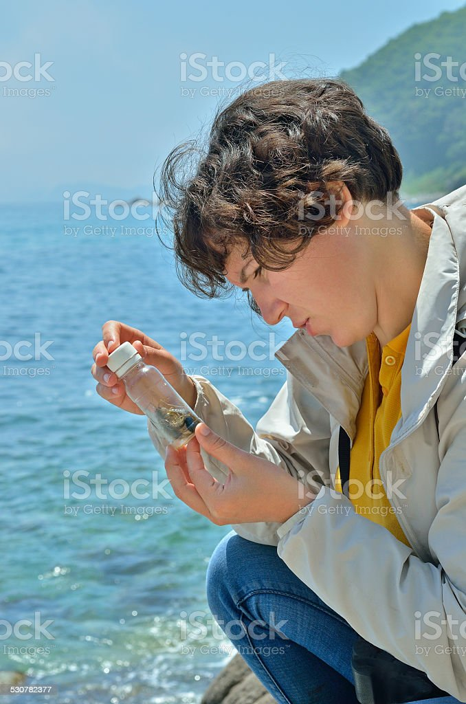 Young woman entomologist stock photo