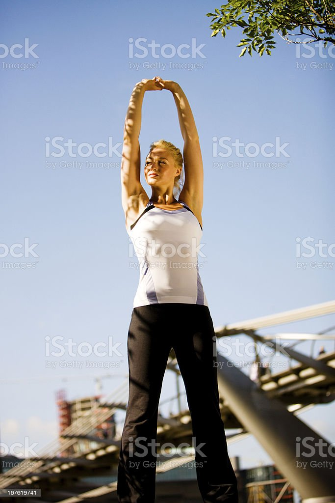Young Woman exercising in  London royalty-free stock photo