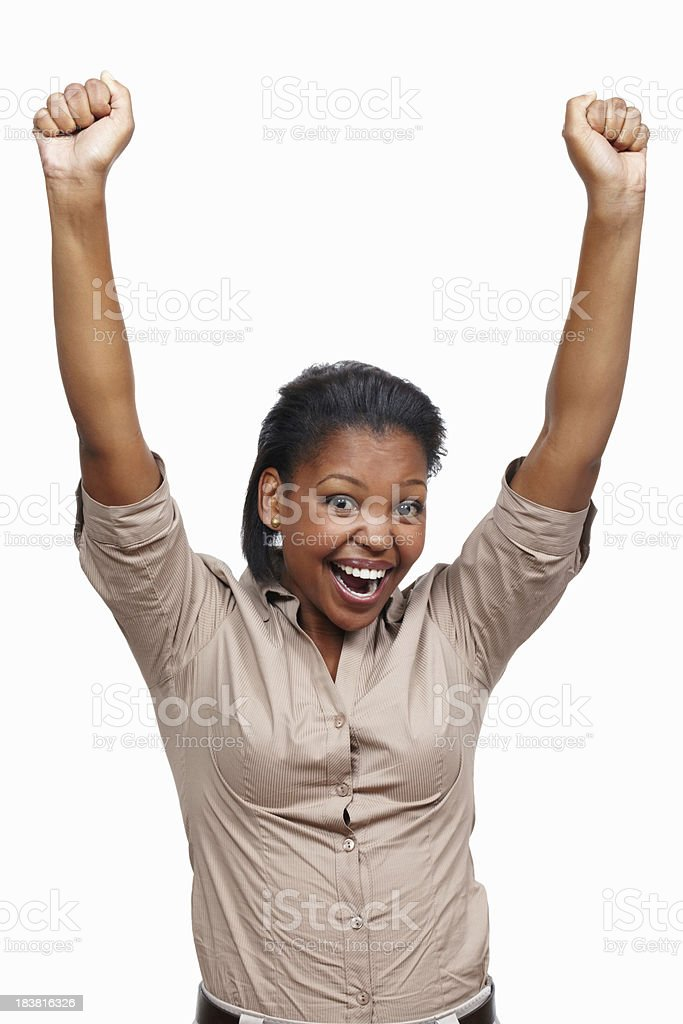 Young woman expressing success royalty-free stock photo