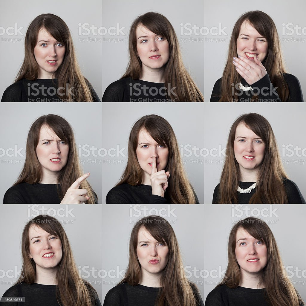 Young woman expression collection royalty-free stock photo