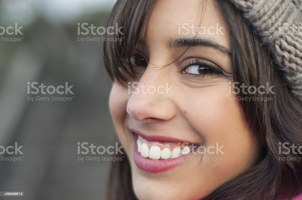 Young woman face smiling stock photo