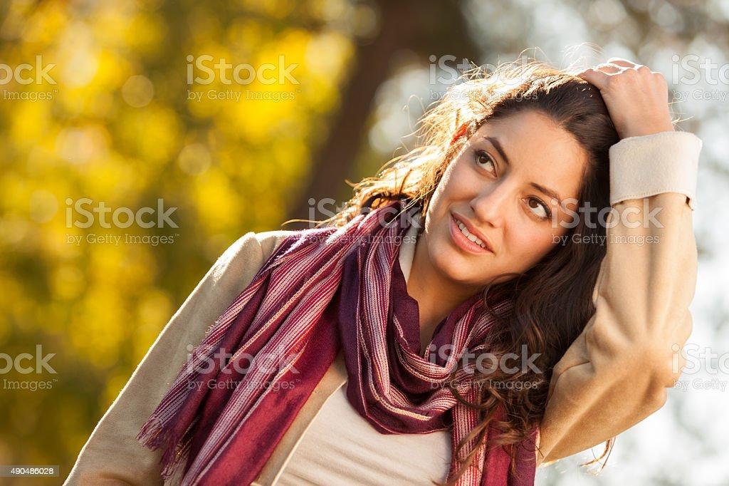 Young Woman Fall Fashion stock photo