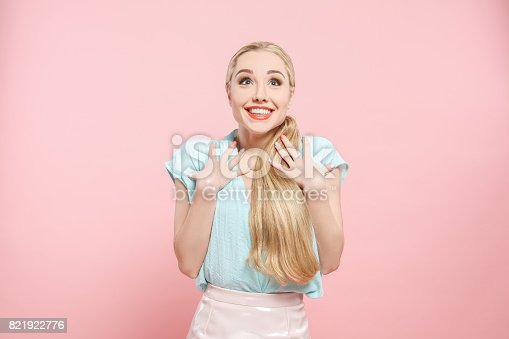 istock Young woman fashion lookbook model studio portrait 821922776
