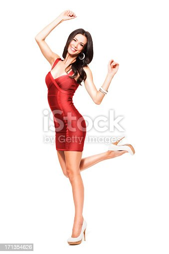 Young Woman Fashion Model in Cocktail Dress Isolated on White Background
