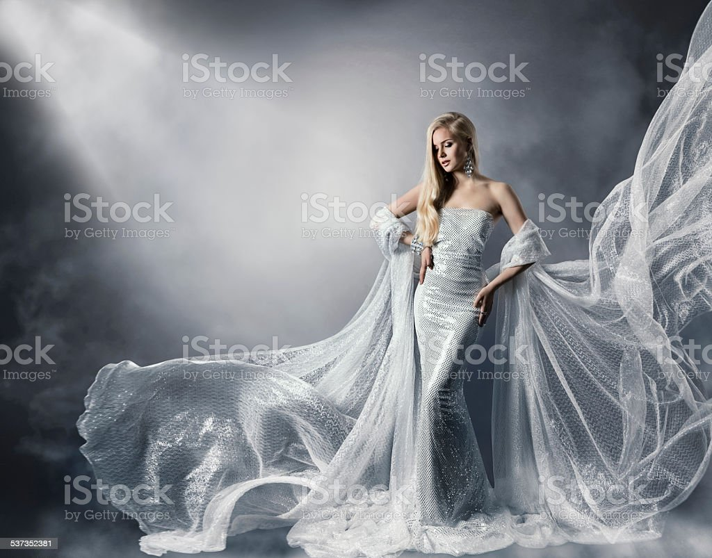Young Woman Fashion Shiny Dress, Lady Flying Clothes, Star Light stock photo