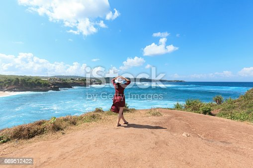 istock Young woman fashion show on cliff 669512422