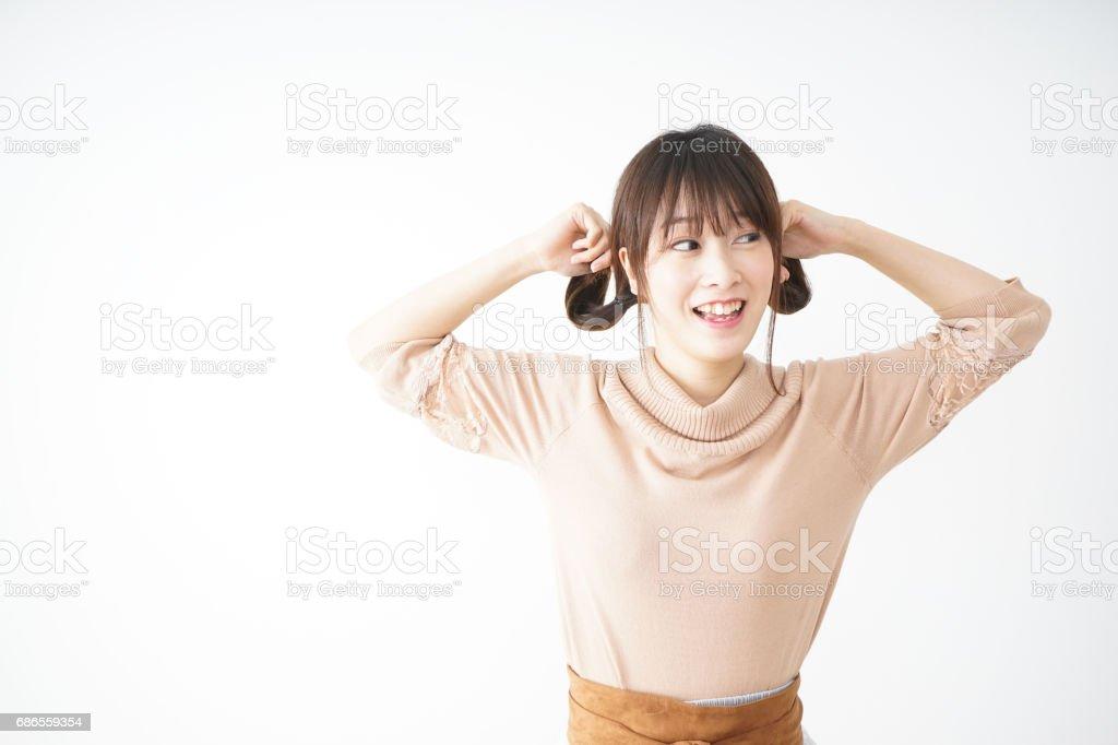 jonge vrouw gelukkig gevoel royalty free stockfoto