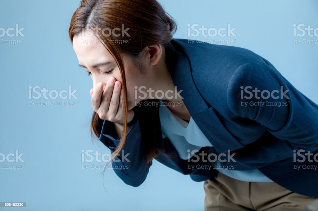 young woman feeling nauseated. royalty-free stock photo