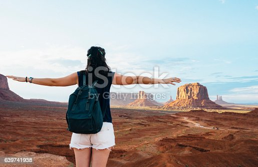 Young Woman Feels Free At Monument Valley