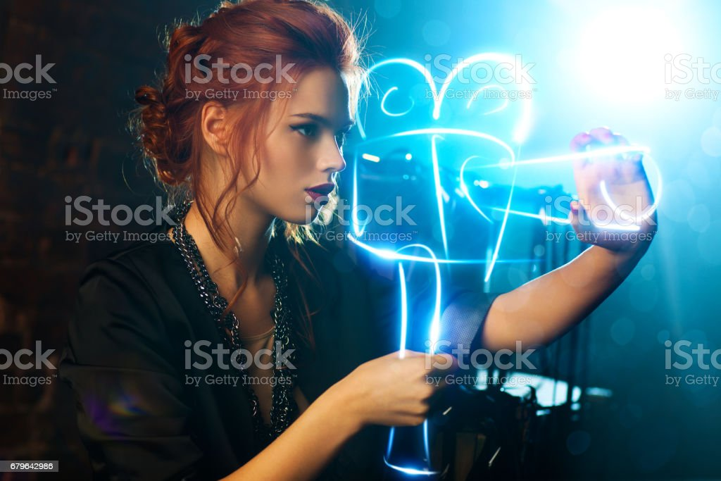 Young woman film director stock photo
