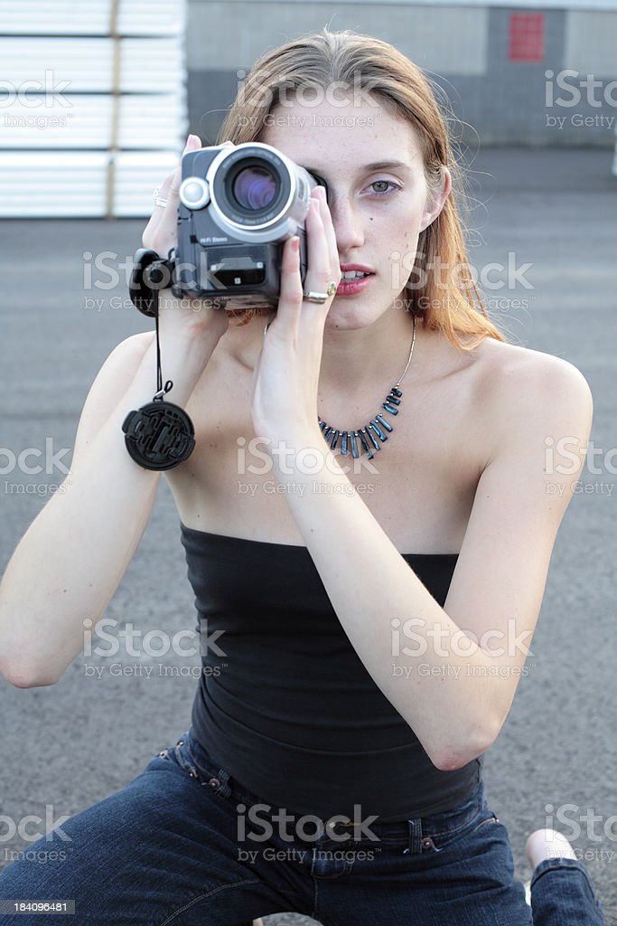 Young Woman Filming 2 royalty-free stock photo