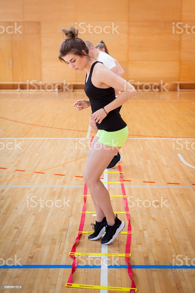 Young Woman Fitness Training in Gym royalty-free stock photo