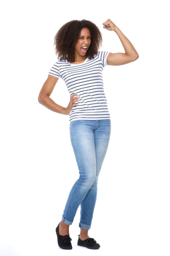 657442382 istock photo Young woman flexing arm muscle 508856459