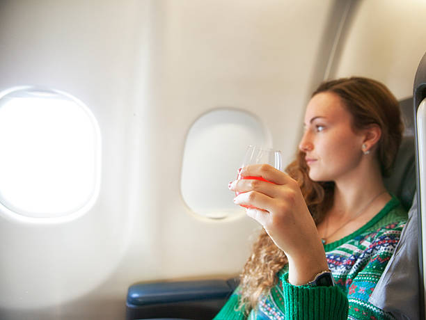Young woman flying stock photo