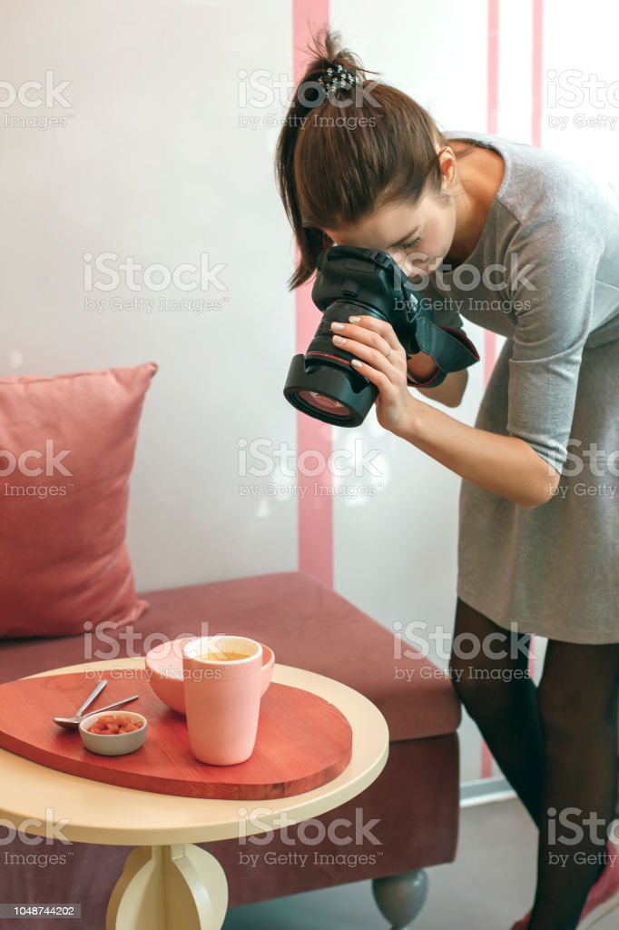 Young Woman Food Photographer Blogger Shoots Breakfast In Cafe Stock Photo Download Image Now Istock