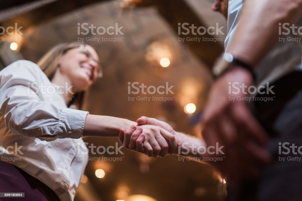 Young woman found a job. stock photo