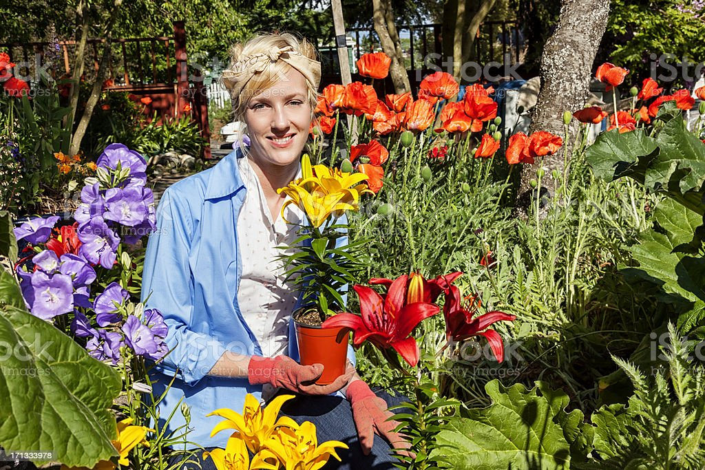 Young Woman Gardening in Flower Bed royalty-free stock photo