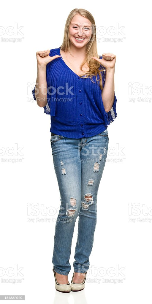 Young Woman Gestures at Herself With Thumbs royalty-free stock photo