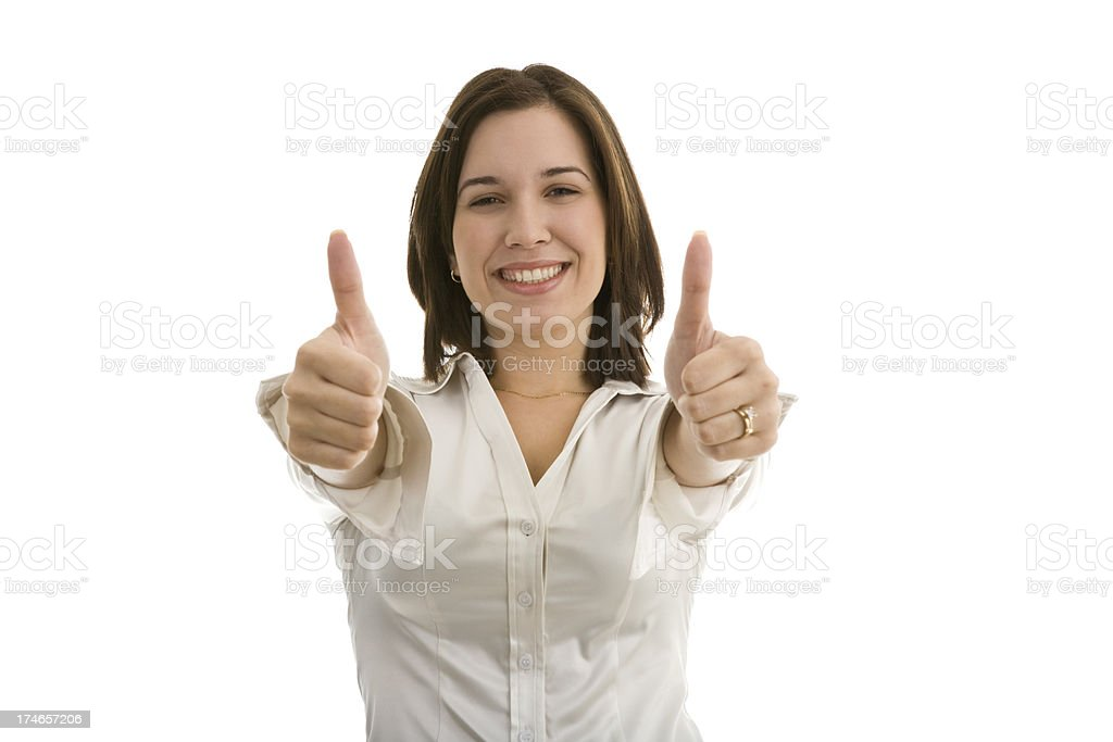 Young woman gesturing with two thumbs up royalty-free stock photo