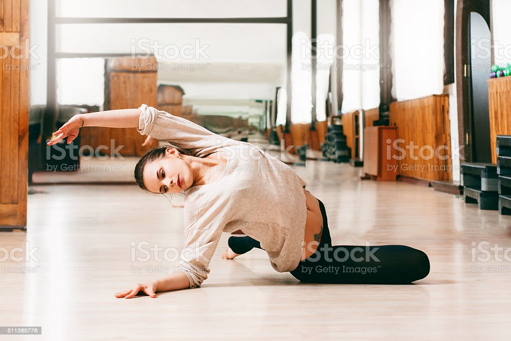 young woman girl dancing contemporary dance stock photo