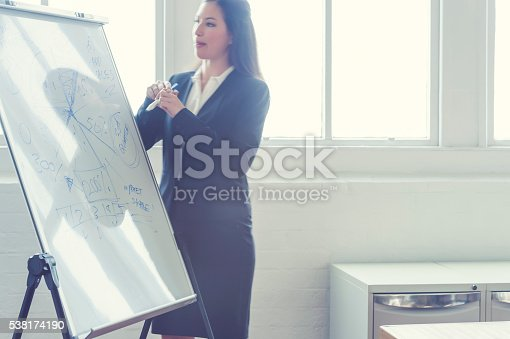 497451790 istock photo Young woman giving a boardroom presentation. 538174190