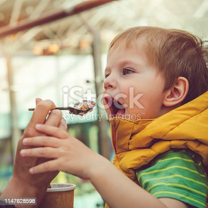958492394 istock photo Young woman giving his son healthy rolled ice-cream or yogurt with fruits or berries, cookies, candy and mint 1147628598